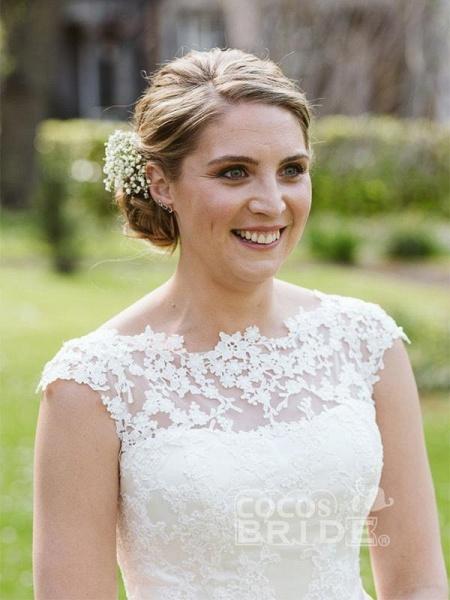 Elegant Lace Covered Button Short Wedding Dresses_4