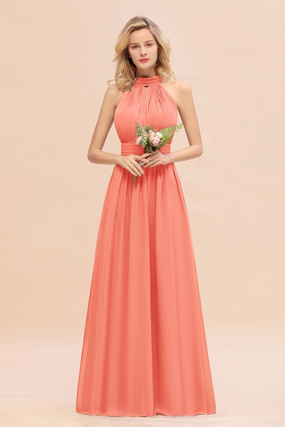 BM0758 Glamorous High-Neck Halter Bridesmaid Affordable Dresses with Ruffle_45