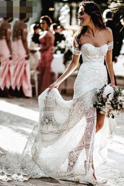 Modest Sweetheart Neck Lace Beach Sexy Boho Wedding Dress_1