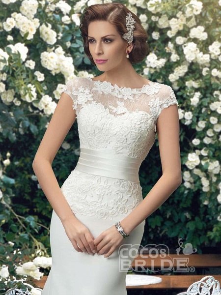 Fashion Cap Sleeve Lace Backless Mermaid Wedding Dresses_3