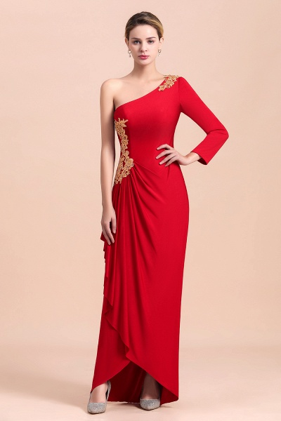 One-Shoulder Gold Appliques Long Sleeves Ruffles Mother of Bride Dress_4