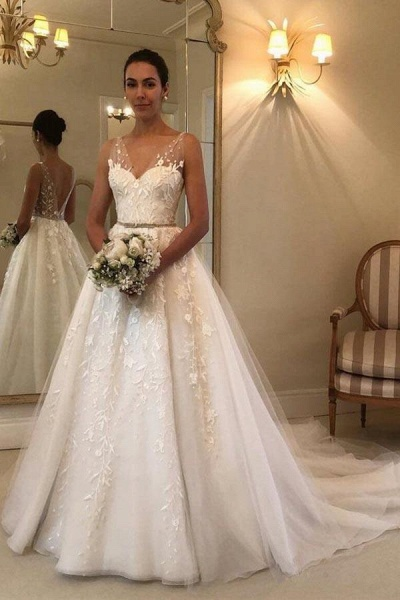 Romantic V Neck Beach with Lace Appliques A Line Wedding Dress_1