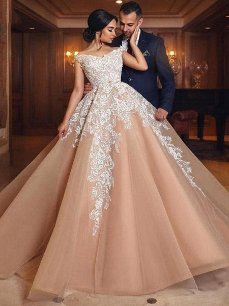 Luxury Appliques Lace-Up Ball Gown Wedding Dresses_1