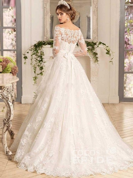 Off-the-Shoulder Tulle Ruffles Wedding Dresses_2