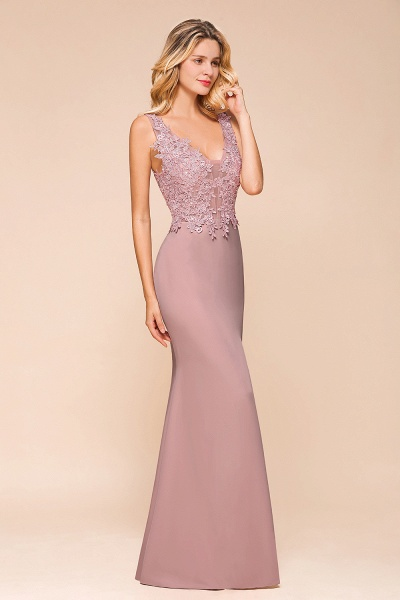 Dusty Pink Mermaid Lace Long Sleeveless Evening Gowns_5