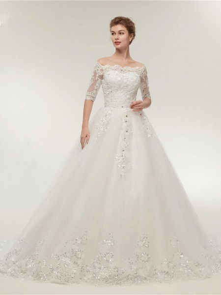 Off-the-Shoulder Half Sleeves Lace Ball Gown Wedding Dresses_1