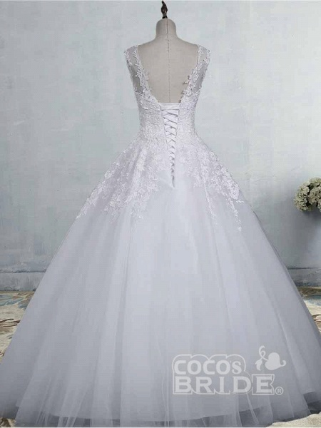 Glamorous Tulle Lace Ball Gown Wedding Dresses_4