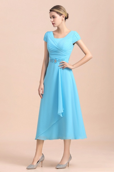 Blue Short Sleeves Chiffon Ruffles Tea-length Mother of the Bride Dress_6