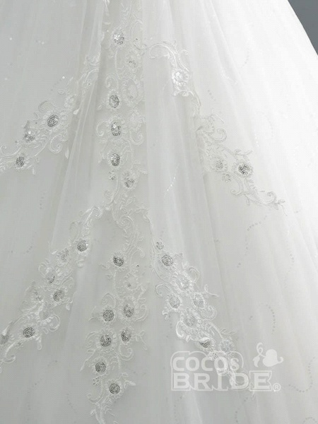 Off-the-Shoulder Lace Sequins Ball Gown Wedding Dresses_5