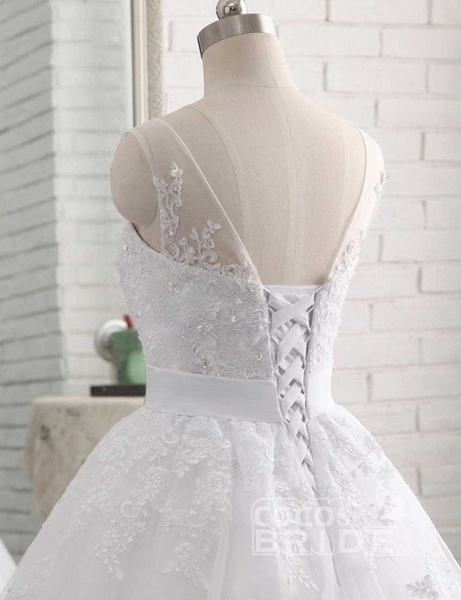 Elegant Lace-Up Ball Gown Wedding Dresses_5