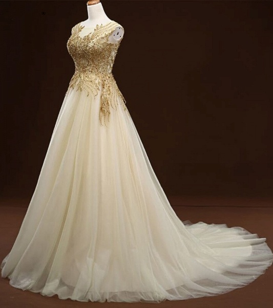 White Tulle Long Gold Applique Wedding Dress_3