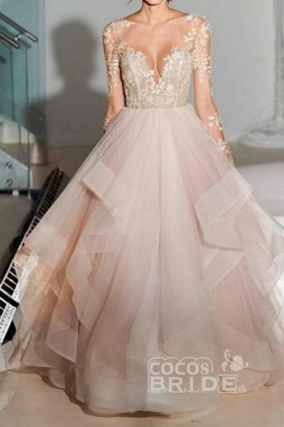 A-Line Long Sleeves Tulle Sheer Neck With Appliques Sexy Wedding Dress_2