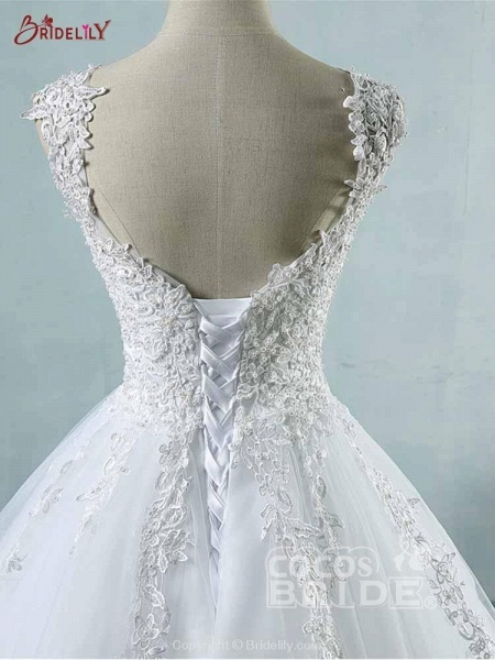 Spaghetti Straps Lace-Up Ball Gown Wedding Dresses_5