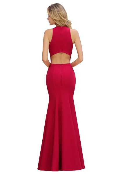 Red Mermaid Halter Prom Dress Long Evening Gowns_10