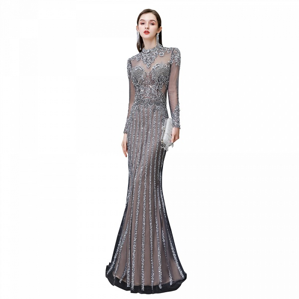 Long Sleeve Mermaid Sequins High-Neck Evening Gowns_11