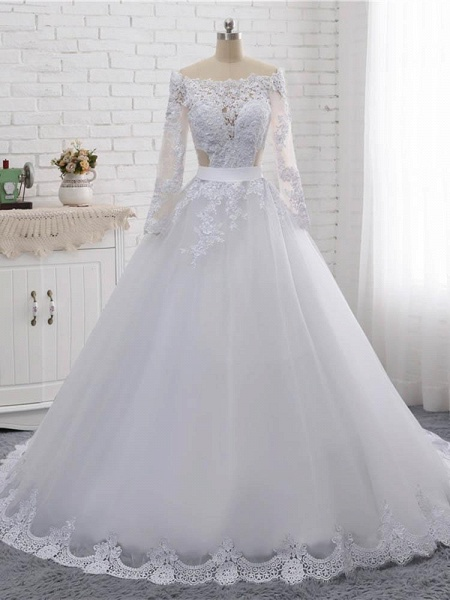 Elegant Long Sleeves Lace Covered Button Ball Gown Wedding Dresses_1