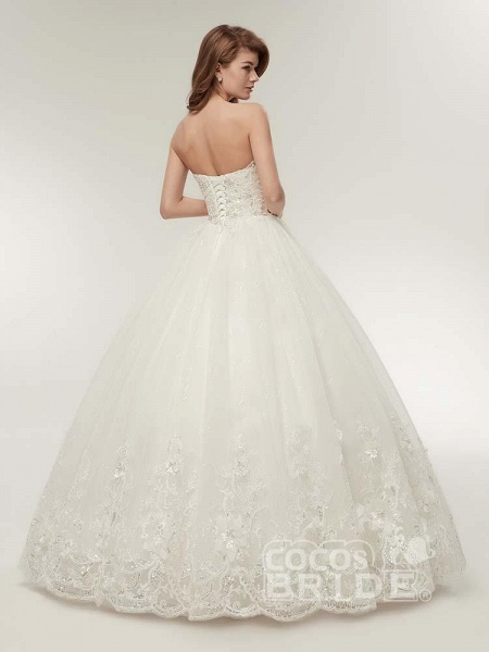 Elegant Sweetheart Beaded Lace-Up Ball Gown Wedding Dresses_2