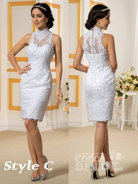 Lovely Lace Mermaid Wedding Dresses With Detachable Skirts_7