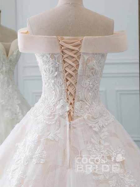 Popular Off-the-Shoulder Lace-Up Ball Gown Wedding Dresses_6