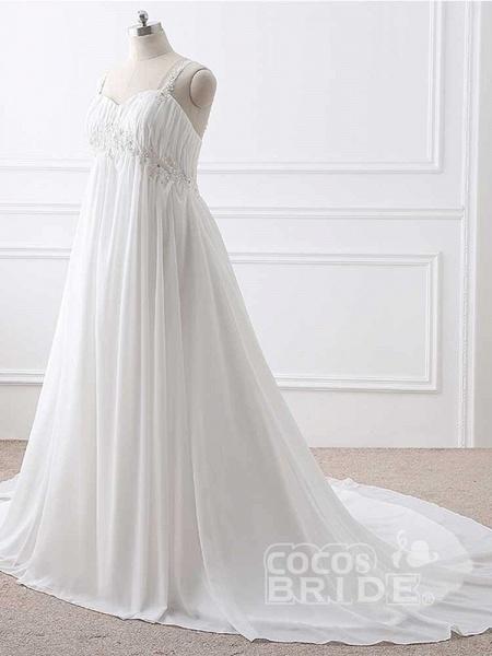 Gorgeous Spaghetti Straps A-Line Ruffles Wedding Dresses_2