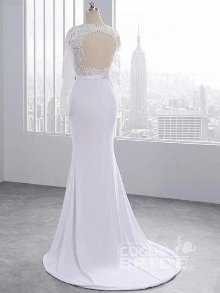 Elegant Long Sleeves Lace Mermaid Sashes Wedding Dresses_3