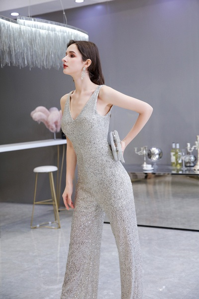Sexy Shining V-neck Sleeveless Prom Jumpsuit with Silver Sequins_8