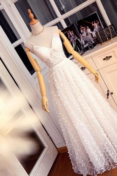 Sweetheart Long Spaghetti Straps Wedding Dress_2