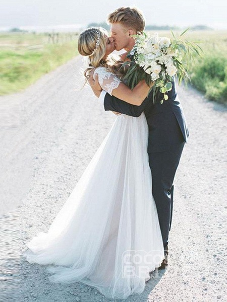 Elegant Short Sleeves Lace Tulle Wedding Dresses_4