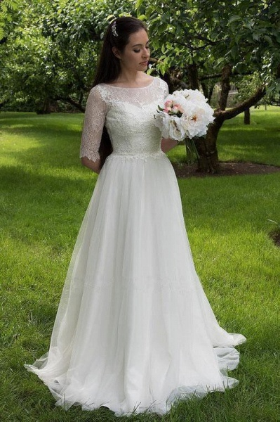 Lace Bodice Dress with Half Sleeves A Line Tulle Cheap Wedding Dresss_1