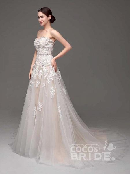 Gorgeous Swetheart Sleeveless Tulle Wedding Dresses_6
