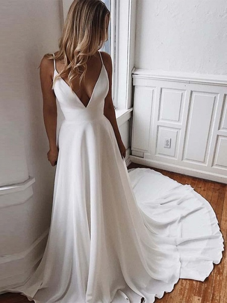 Simple Spaghetti-Strap V-Neck Sweep Train Ruffles Wedding Dresses_1