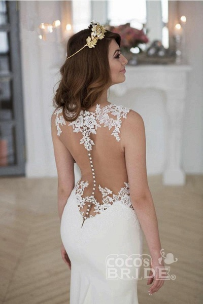 Stunning Pretty Mermaid Sleeveless Lace Appliques Wedding Dress_2