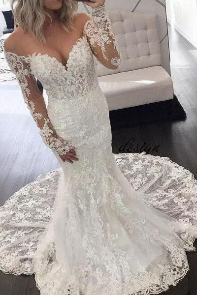 Illusion Sleeve Lace Mermaid Gorgeous Long Wedding Dress_1