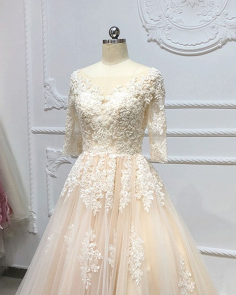 Champagne Tulle White Lace Applique Half Sleeve Long Wedding Dress_4