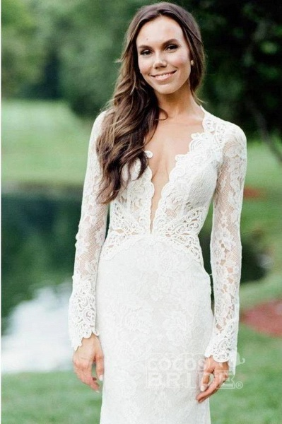 Elegant Mermaid Backless Long Sleeve Lace Wedding Dress_3