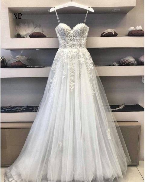 A Line Lace Wedding Dress 2021 Princess White Long Formal Bridal Gown_2