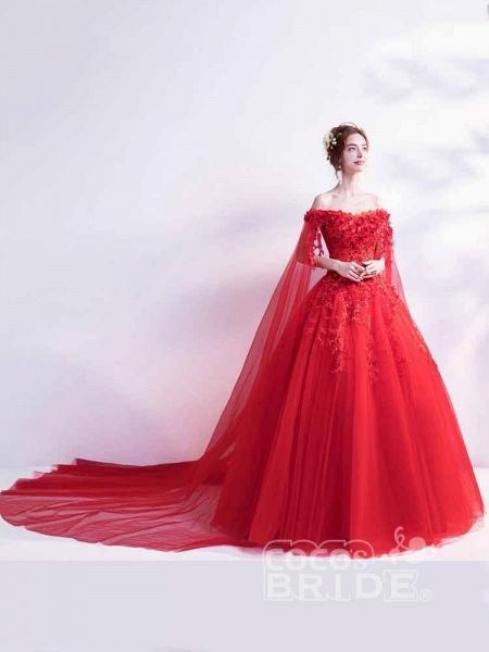 Off-the-Shoulder Lace Applique Wedding Dresses_3