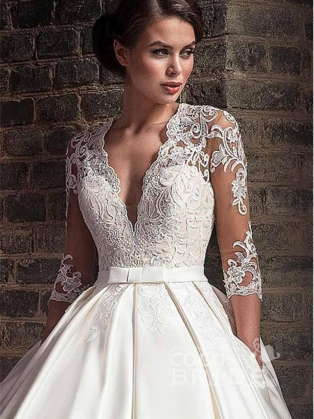 V-Neck Lace Applique Ball Gown Wedding Dresses_3