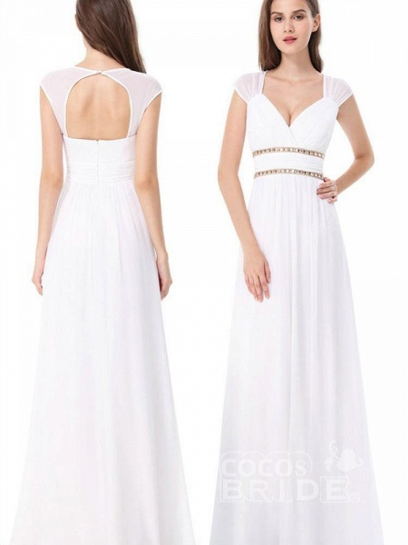 Simple V Neck Cap Sleeve Boho Wedding Dresses_5