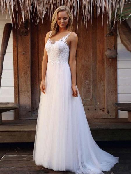V-Neck Lace Tulle Wedding Dresses_1