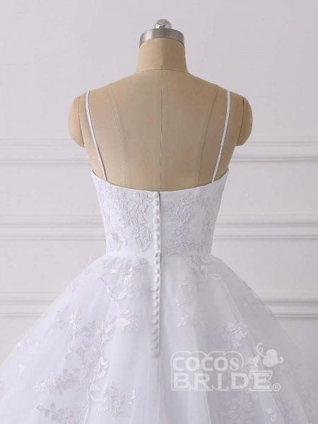 Spaghetti Straps Lace Tulle Ruffles Wedding Dresses_6