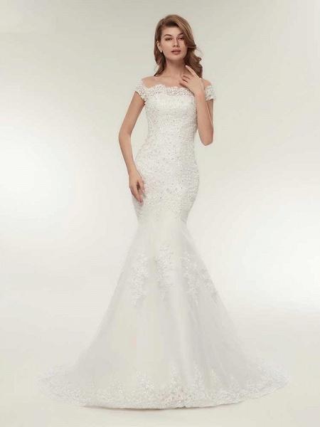Off-The-Shoulder Bateau Mermaid Wedding Dresses_1