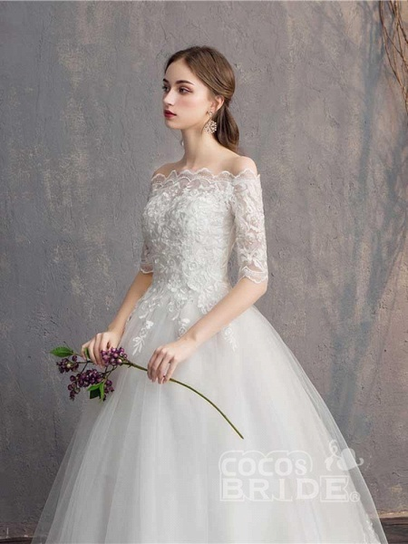 Elegant Lace-Up Tulle Ball Gown Wedding Dresses_3
