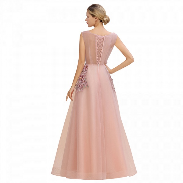 Gorgeous Dusty Pink Tulle Long Lace Appliques Prom Dress_13