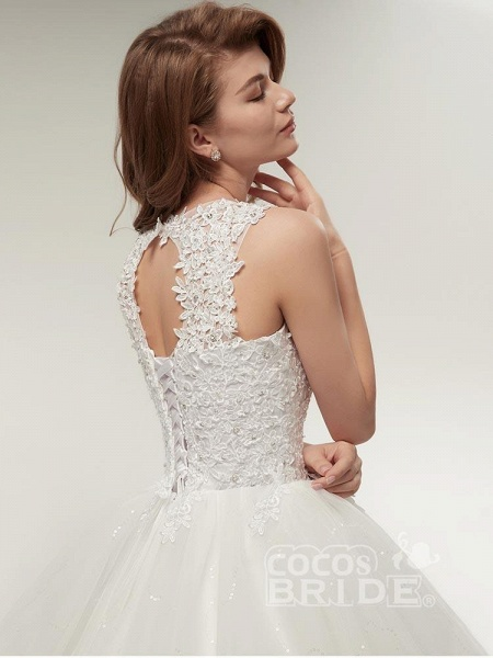 Glamorous Appliques Lace Up Ball Gown Wedding Dresses_6