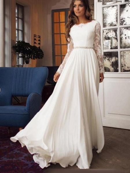 Glamorous Long Sleeves Sashes Ruffles  Wedding Dresses_1