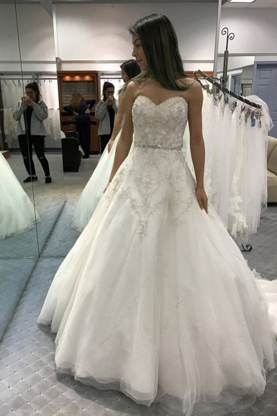 Precious Shinny Beaded Strapless Ball Gown Wedding Dress_1