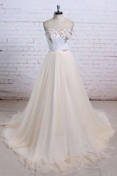 Champagne Tulle Long Strapless Simple Wedding Dress_1