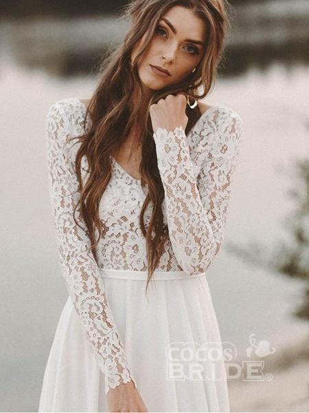 A-Line V Neck Open Back Lace Wedding Dresses_4
