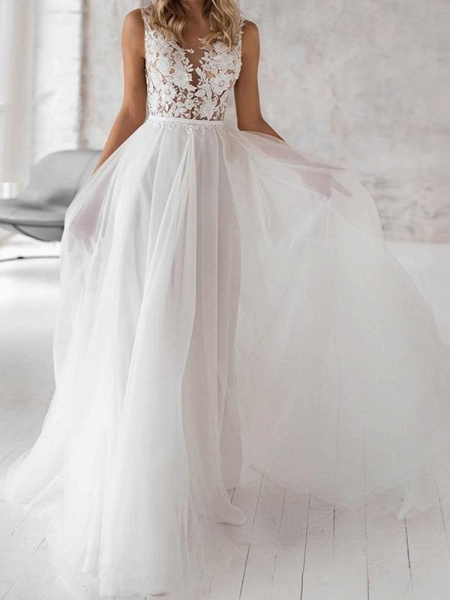 Covered Button Lace Appliques Wedding Dresses_1